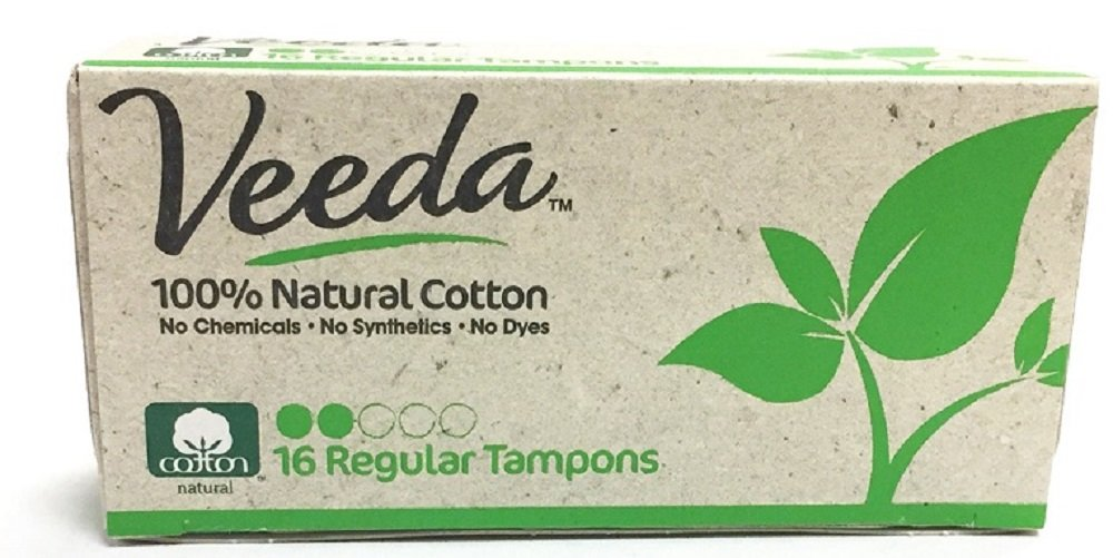 Veeda, 100% Hypoallergenic, Natural Cotton, Chemical Free,  Unscented, Biodegradable, Regular, Applicator Free Tampon, 16-Count