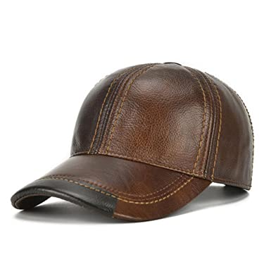 HSRT Mens Cowhide Leather Solid Adjustable Baseball Cap Casual Cosy  Sunshade Sport Cap Brown cf6c4b232ae