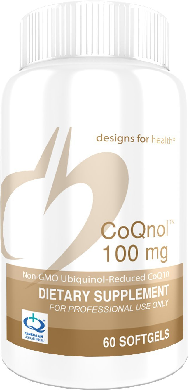 Designs for Health - CoQnol - 100mg Antioxidant Ubiquinol, Reduced + Non-GMO CoQ10 for ATP Energy Support, 60 Softgels