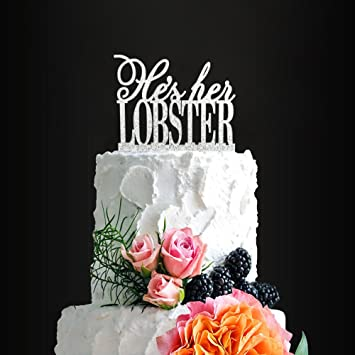 Glitter Silver Hes Her Lobster Romantic Wedding Cake Topper Elegant Friends For