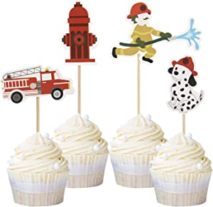 Ercadio 24 Pack Fireman Cupcake Toppers Fire Department Cake Topper Picks Baby Shower Birthday Party Decoration Supplies