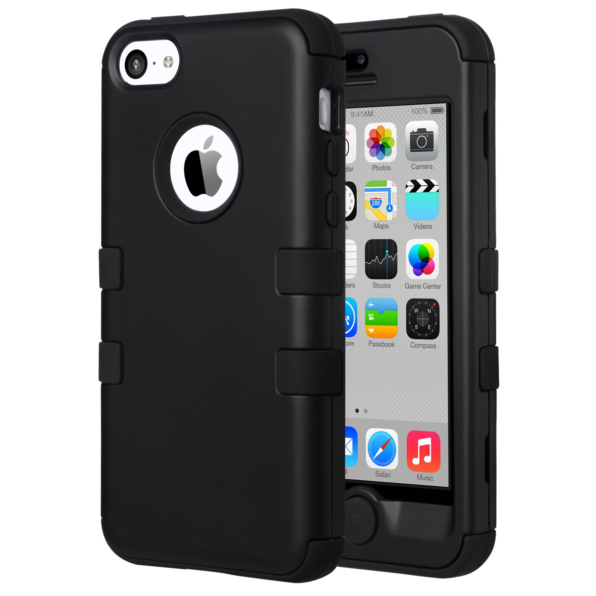 purchase cheap c0064 388a1 ULAK iPhone 5C Case, iPhone 5C Case Black, Shockproof Soft Silicone Rubber  Hard Plastic Hybrid Heavy Duty Protection Kidproof High Impact Case Cover  ...