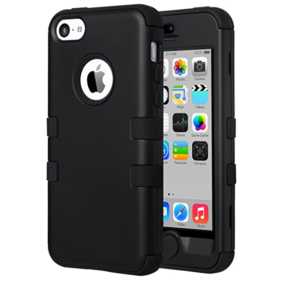 purchase cheap bbb7d 54861 ULAK iPhone 5C Case, iPhone 5C Case Black, Shockproof Soft Silicone Rubber  Hard Plastic Hybrid Heavy Duty Protection Kidproof High Impact Case Cover  ...