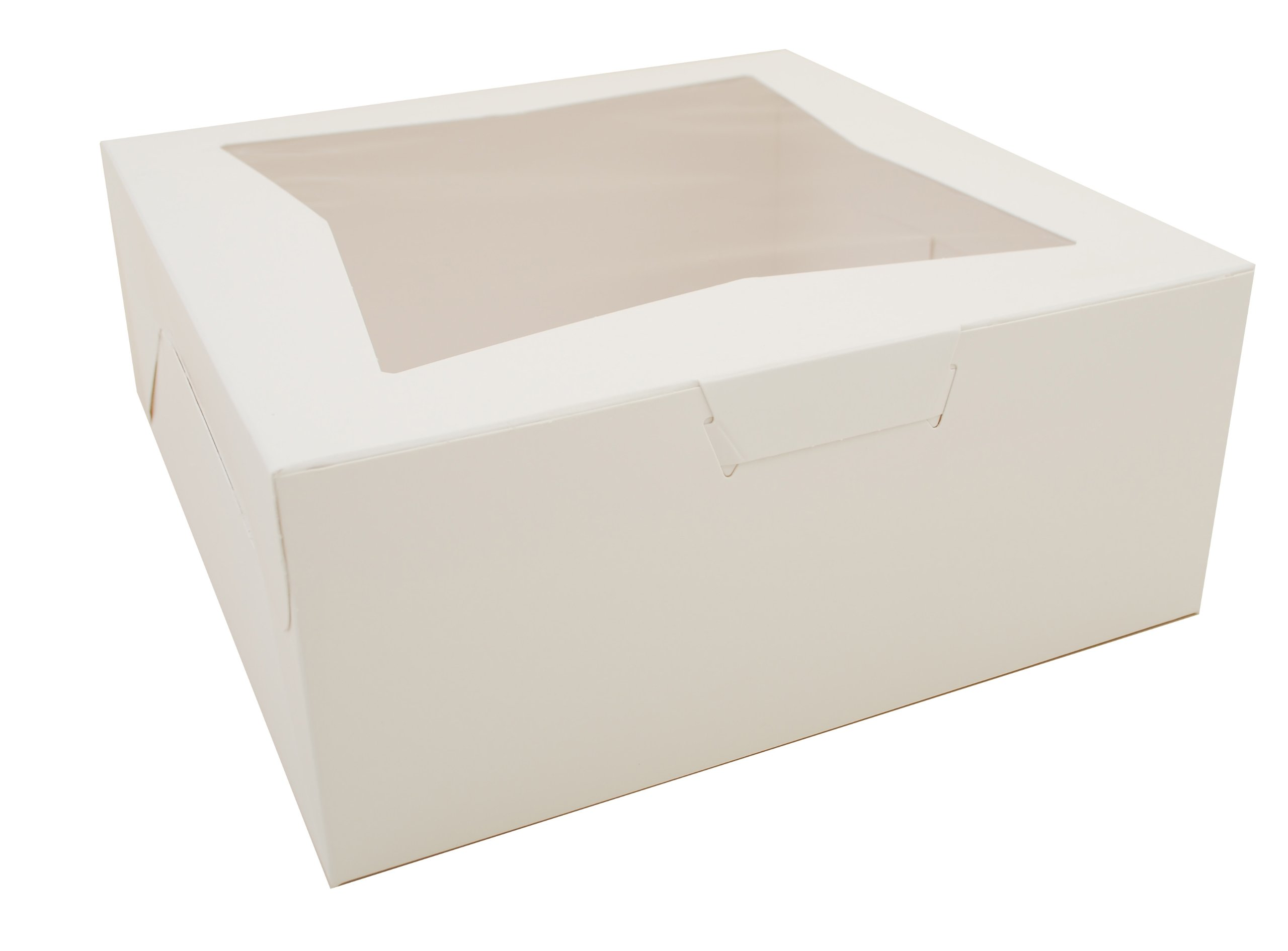 Southern Champion Tray 23073 Paperboard White Lock Corner Window Bakery Box, 12'' Length x 12'' Width x 5'' Height (Case of 100)