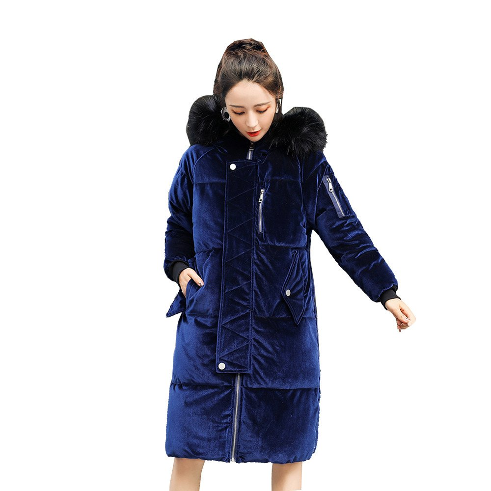 Kemilove 2018 New Korean Version of The Long Hooded Fur Coat Big Velvet Warm Feather