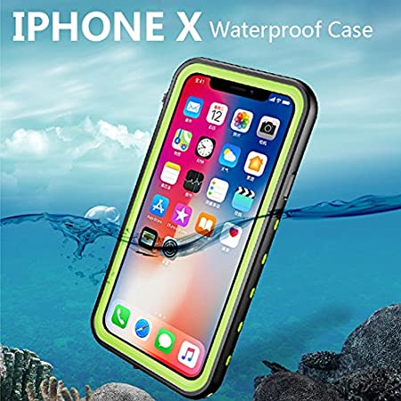 Full-Body IP68 Certified Waterproof Snowproof Dustproof Shockproof Wireless Charging Support Underwater with Touch Screen Protector for iPhone X//10 HyFone iPhone X Waterproof Case