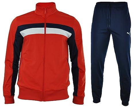 Puma Fun CB Tricot Suit Closed Hombres Sport chándal Jogging Rojo ...