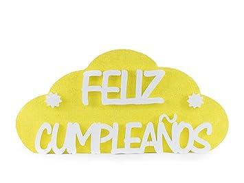 Feliz Cumpleaños Amarillo 54cmx26cm | Pack 2 Unidades Nube ...