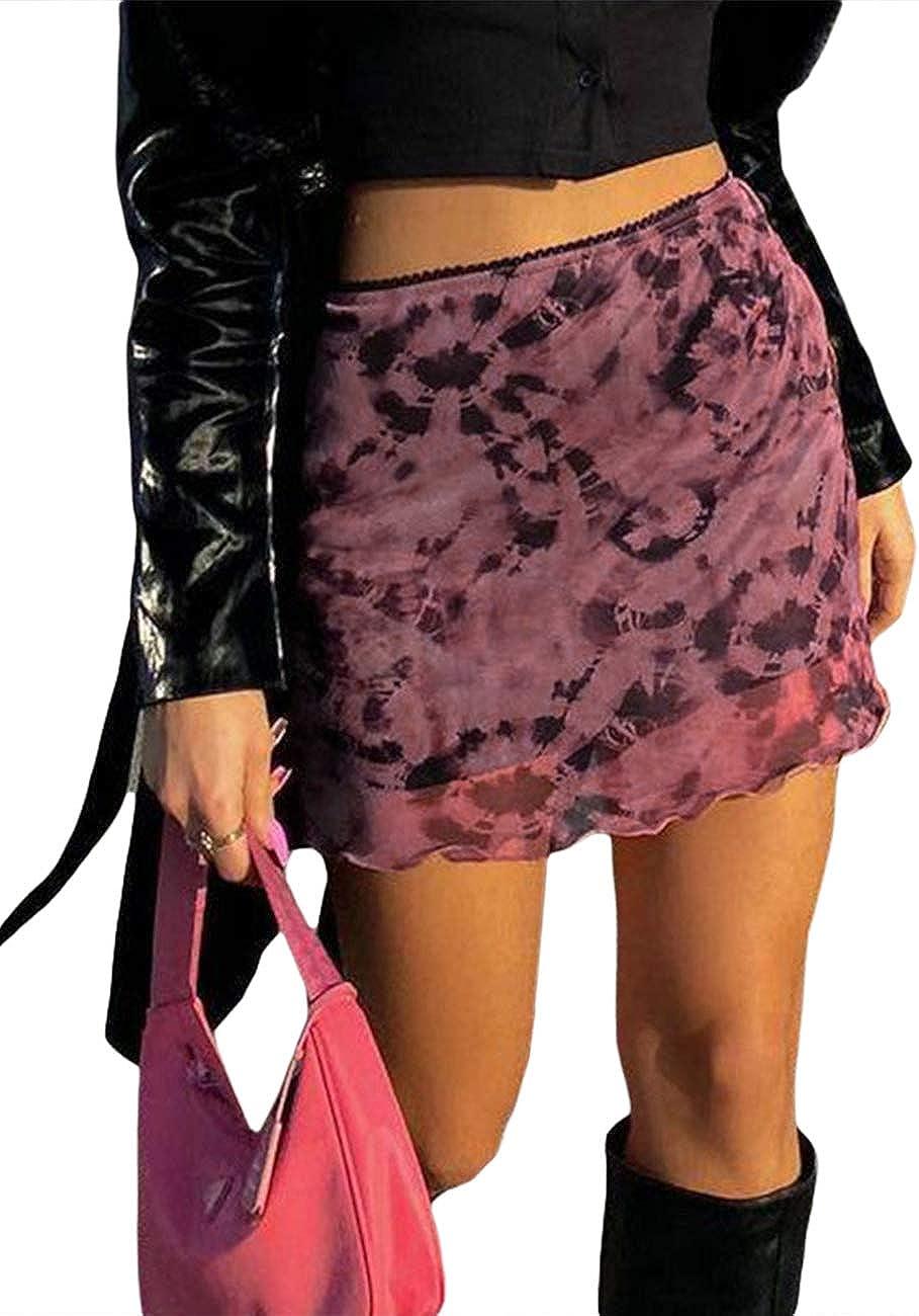 Huyghdfb Mujeres Y2k Faldas de Retazos de Encaje de Cintura Alta Una línea de Malla Bodycon Mini Falda Streetwear