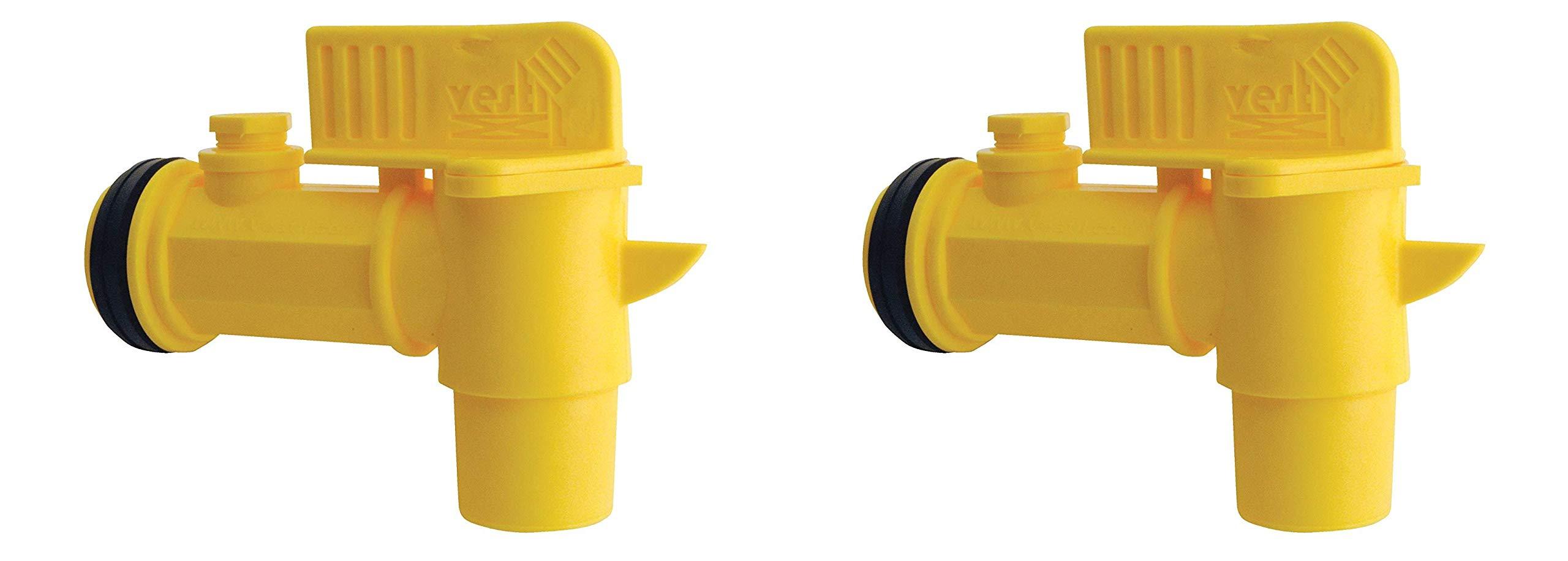 Vestil JDFT Plastic Manual Handle Jumbo Drum Faucet, Fits 2'' Drum Openings (Тwo Рack, Yellow)