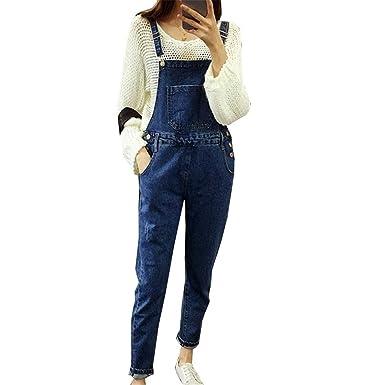 72a590e00c9e Habitaen Vintage Dark Blue Jeans Jumpsuits Slim Pencil Jeans Denim Overalls  All Match Adjustable Strap Jumpsuits