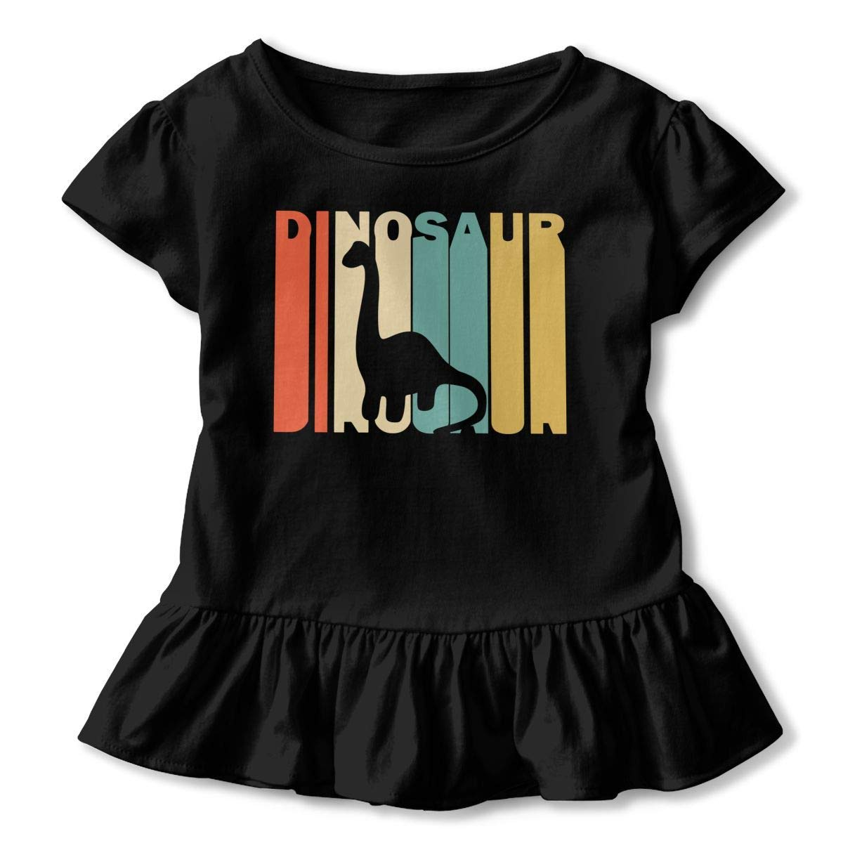 2-6T Short Sleeve Retro Style Dinosaur Silhouette Shirts for Children Cute Tunic Tops with Falbala