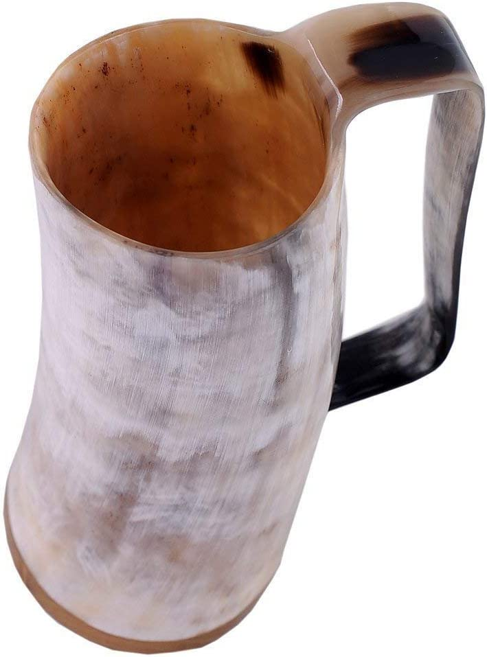 Buddha4all Horn Mug Beer Tumbler Viking Drinking Mug with Handle Medieval Renaissance Light Shade Larger 450 ml