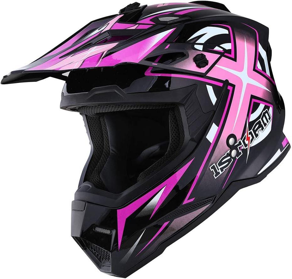 1Storm Adult Motocross Helmet BMX MX ATV Dirt Bike Helmet Racing Style HF801; Sonic Orange