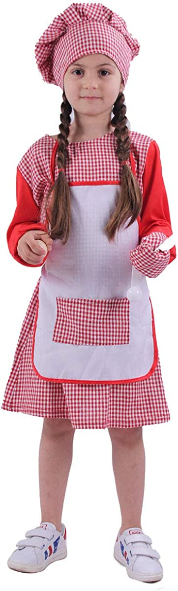 Giakool Kids Chef Costume for Girls Toddler Baker Role Play Set with Dress Hat Mitten and Apron for Dress Up, Pretend Play