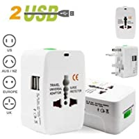 Azacus Worldwide All in One Universal Wall Charger AC Power Plug Adapter with Dual USB Charging Ports for USA EU UK AUS Cell Phone Laptop (White)