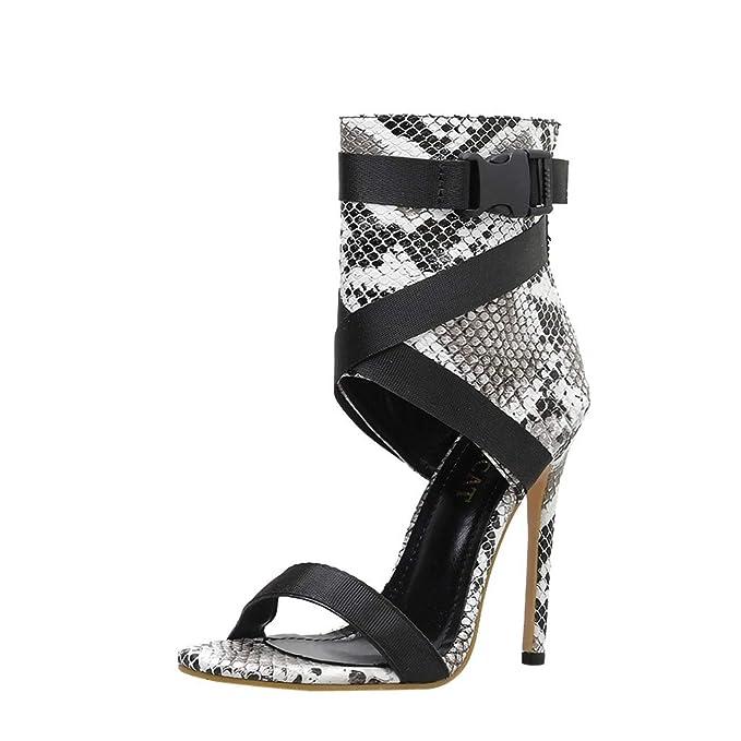 Darringls Mujer Verano Moda Sandalias Tobillo TacóN Alto Fiesta Zapatos Abiertos Zapatos De TacóN Alto Chancletas Zapatillas Sandalias con CuñA Peep Toe ...