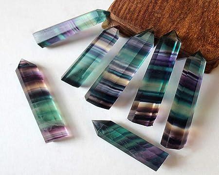 Crystal Point Wand-1 pieza de piedra de curación de cristal de cuarzo natural con punta de amatista, minerales para pecera, decoración del hogar, ...