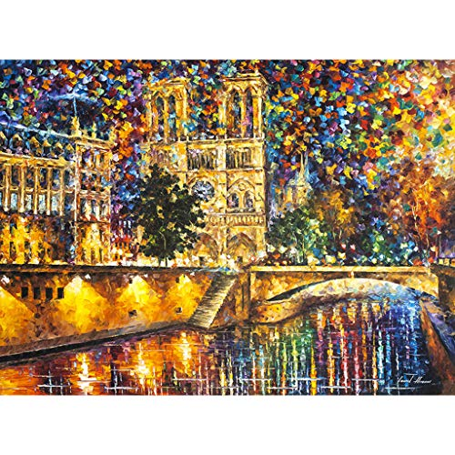 Blingdots DIY Oil Painting Paint by Number Kit Home Wall Art Picture Notre Dame de Paris, Canvas Wall Art Prints Picture Modern Paintings Home Decoration Artwork Wood Frame Gallery Stretched ()