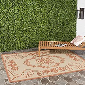 """Safavieh Courtyard Collection CY1893-3201 Natural and Terra Indoor/ Outdoor Square Area Rug, 7 feet 10 inches Square (7'10"""" Square)"""