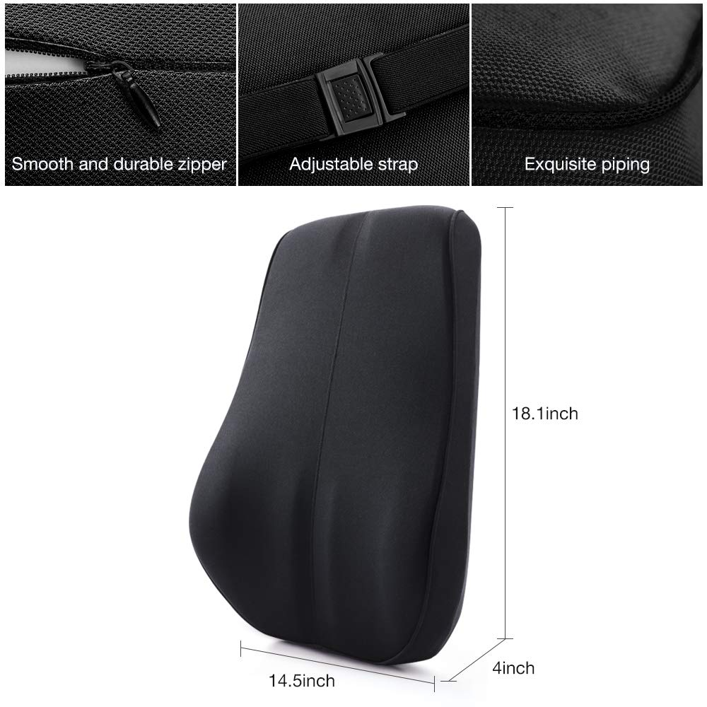 QUEES Memory Foam Lumbar Support Pillow Breathable Mesh Back Cushion with Ergonomic Designed for Low Back Pain Relief Orthopedic Backrest for Car Seat Office Chair Wheelchair and Recliner