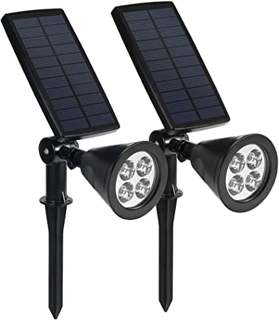 Lámparas Solares, Foco Solar Exterior de 4 LED 2W 200LM, Solar Luces Ángulo Ajustable Impermeable (IP65) Aplicable para Calzada, Jardín, Terraza, Corredor, Patio (2P): Amazon.es: Hogar