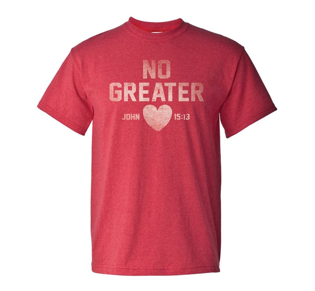 Gardenfire Men's No Greater Love Classic Tee, X-Large, Red