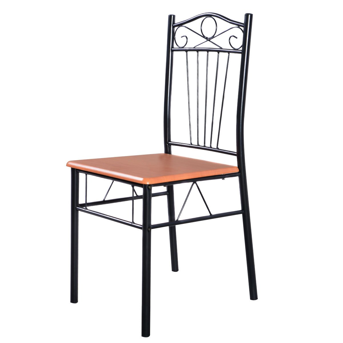 Amazon.com: Tangkula Steel Frame Dining Set Table And Chairs Kitchen Modern  Furniture Bistro Wood: Home U0026 Kitchen