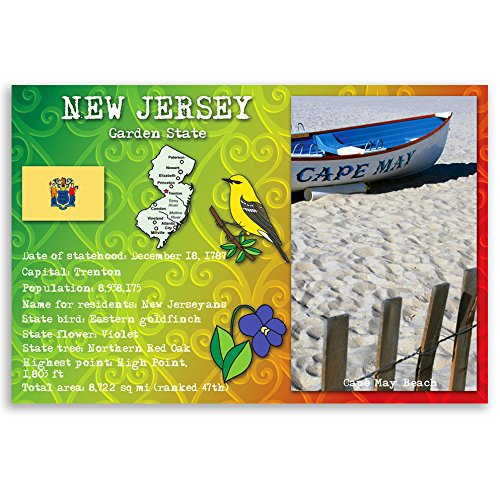 - NEW JERSEY STATE FACTS postcard set of 20 identical postcards. Post cards with NJ facts and state symbols. Made in USA.