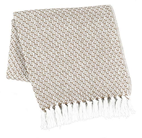 Farmhouse Throws Blanket with Fringe for Chair,Couch,Picnic,Camping, Throws for Couch,Everyday Use, 100% Ring Spun Cotton Throw Blanket with Super Soft and Excellent Handfeel 50 x 60 -Linen ()