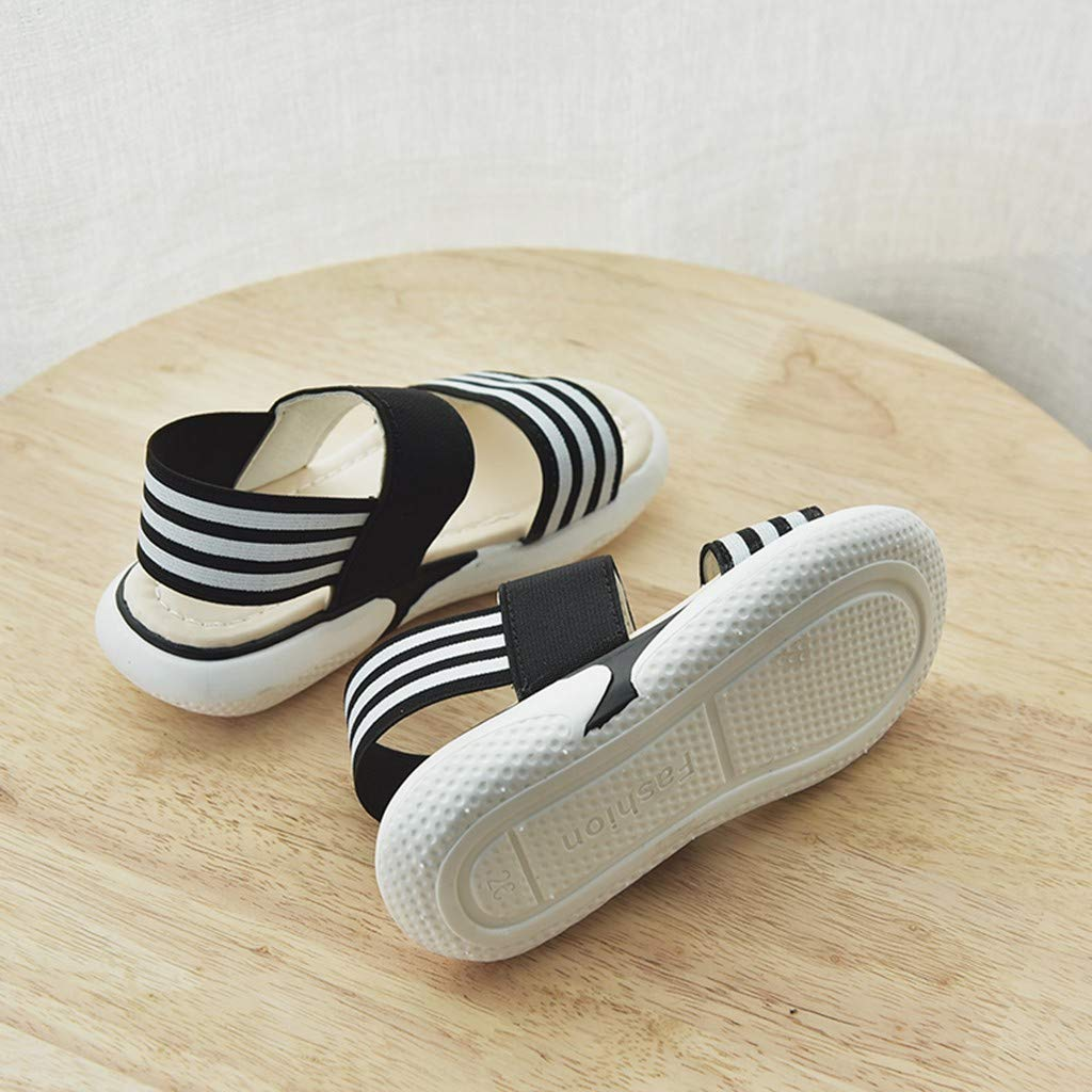 Toddler//Little Kid ❤️Rolayllove❤️ Baby Toddler Girls Stripe Open Toe Strap Sandals Summer Flat Princess Shoes
