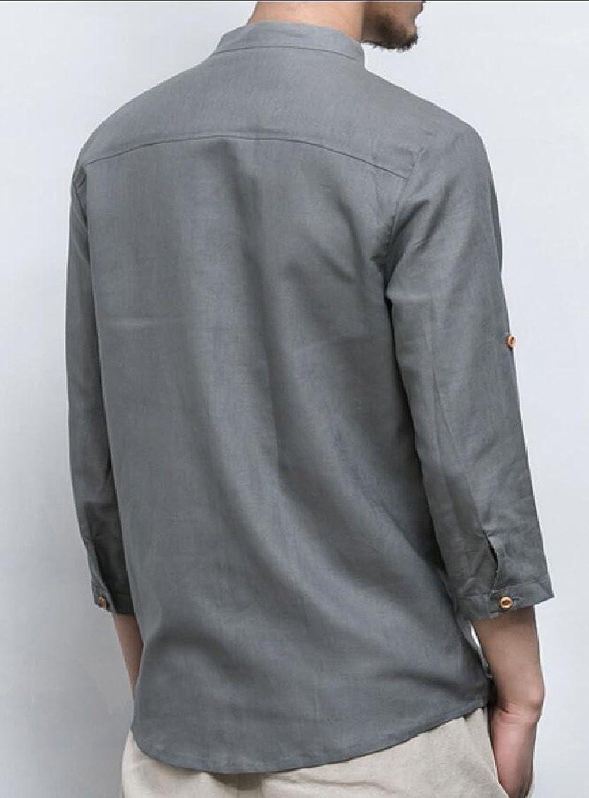 Keaac Mens Linen V-Neck Cotton Roll up Sleeve Shirts Top