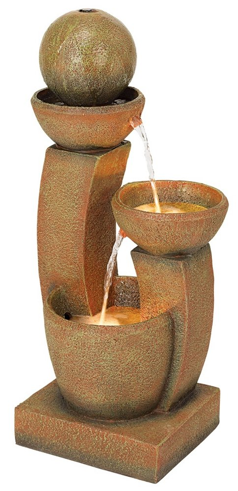 "John Timberland Modern Curved Columns 31"" High LED Fountain"