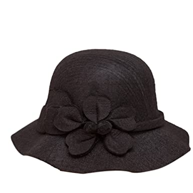 iShine Ladies Vintage Elegant Wool Cloche Bucket Hat Winter Warm Flower Brim  Cap 02aa0537f9b0