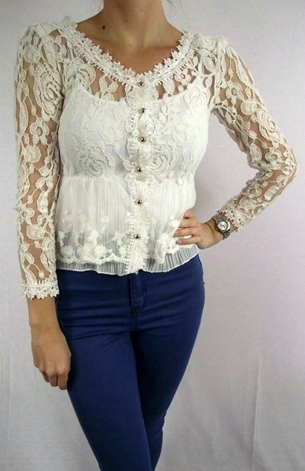 Ladies Womens Cream Lace Crochet Blouse Top Cardigan Sheer Vintage ...