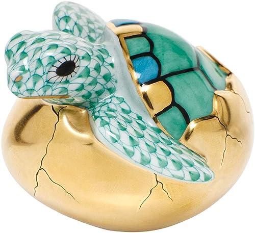 Herend Hatching Sea Turtle Porcelain Figurine Green Fishnet