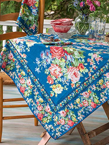 April Cornell Cottage Rose Blue Floral Print 54 x 54 Inch Square 100% Cotton Tablecloth - Seats 4