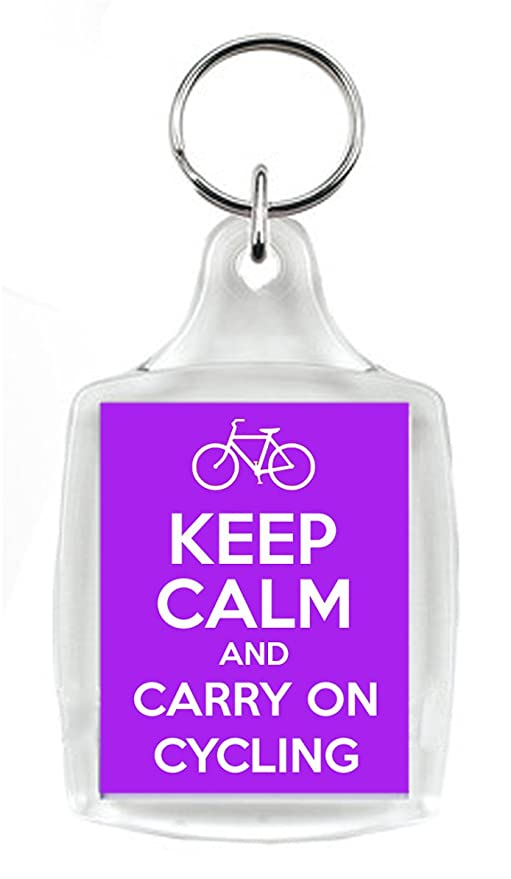 Keep Calm And Carry On Ciclismo púrpura llavero, un regalo ...