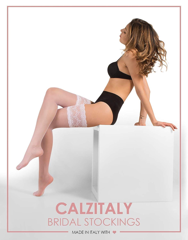 Avorio 15 Den Bianco Naturale Made In Italy Intimo Sposa Lingerie Sposa CALZITALY Calze Autoreggenti Sposa