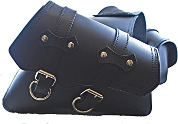 Black Plain Leather LaRosa Sportster Left /& Right Side Saddle Bag Set