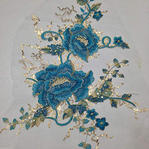 Delicate Large Embroidery Sew on Sequins Appliques Patch Wedding Dress Accessory DIY Sewing Decor Lake Blue