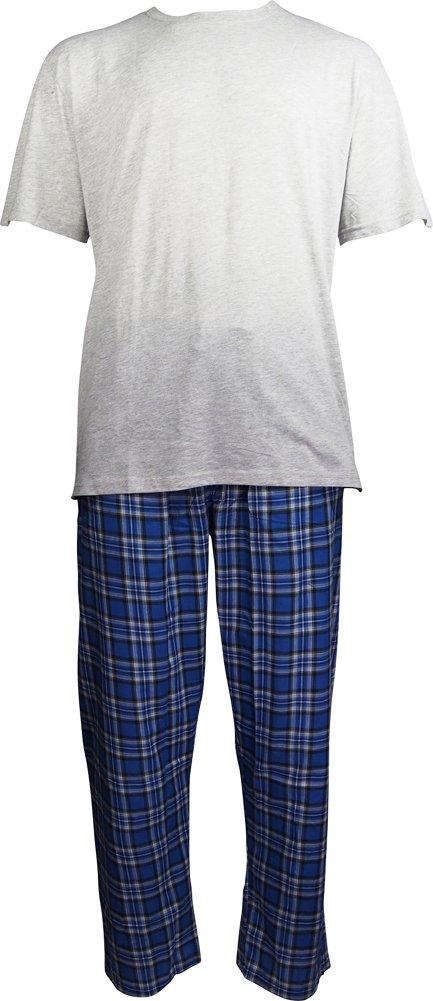 Hanes Mens Short Sleeve Top and Woven Pant Pajama Set, Grey, Blue 40388-X-Large