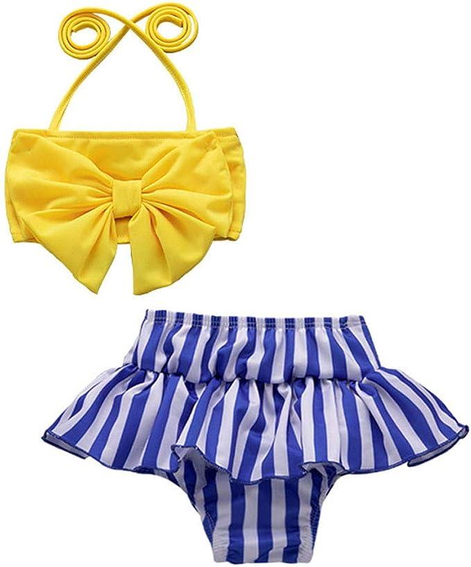 Jimmackey Costumi da Bagno Bambina Due Pezzi Costumi per Bambine da Mare Bikini Costumi da Bagno Bambine Ragazzine Due Pezzi Bikini Ragazza Vita Alta per Bambina 2 Anni-6 Anni