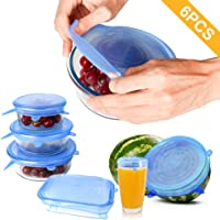 Silicone Stretch Lids, [6 Pack of Various Sizes] Reusable Durable and Expandable BPA Free Containers Covers for Bowl, Dishes, Dishwasher, Jars, Oven, Microwave-Clear