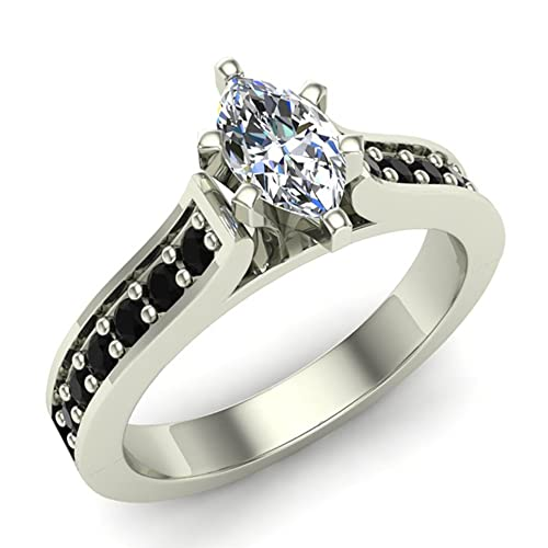 3/4 ct tw Black & White Marquise Natural Diamond Engagement Ring in 14K Gold