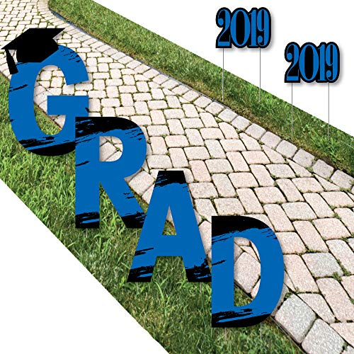 Big Dot of Happiness Blue Grad - Best is Yet to Come - Yard Sign Outdoor Lawn Decorations - Royal Blue 2019 Graduation Party Yard Signs - Grad