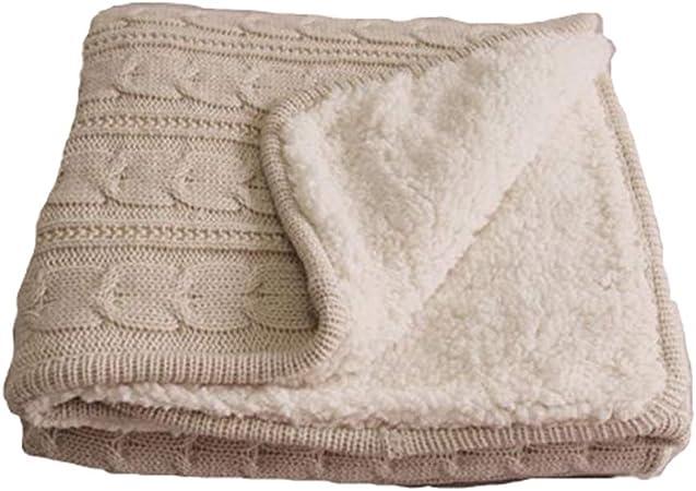 Mantas de Punto de algodón Casual nórdico Punto de algodón Terciopelo Cordero Terciopelo compuesta de Piel de Cordero: Amazon.es: Hogar