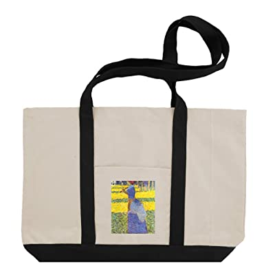 Woman With Parasol (Seurat) Cotton Canvas Boat Tote Bag Tote