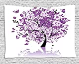 XHFITCLtd Nature Tapestry, Spring Tree of Life Sacred Woods with Blooming Flower and Butterfly Flying Romance, Wall Hanging for Bedroom Living Room Dorm, 80 W X 60 L Inches, Lilac Purple