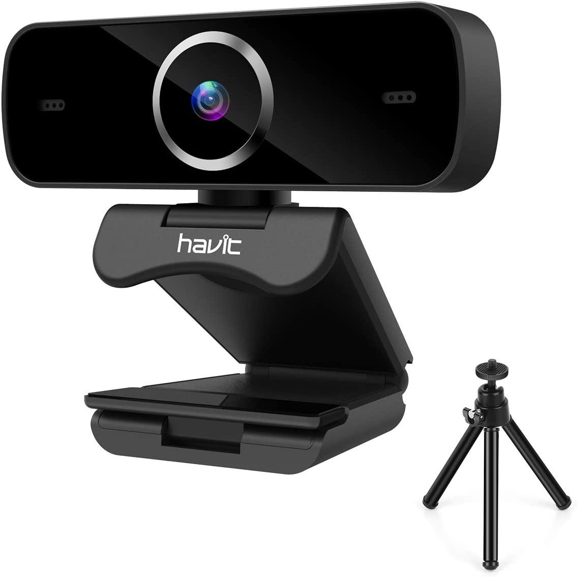 Webcam with Microphone, Havit 1080P Desktop Laptop HD Web Camera with Tripod Auto Focus Noise Reduction,USB Streaming Computer Webcam for PC, Video Calling, Recording, Conference, Gaming
